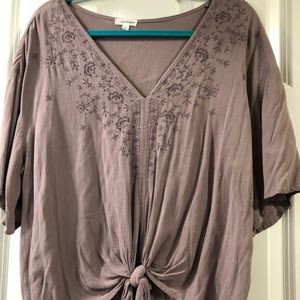 Lavender blouse with floral pattern